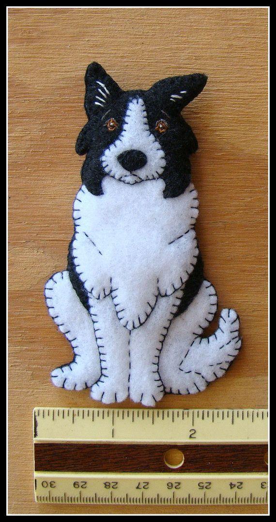 Border Collie cachorro-hecho a mano fieltro a Navidad por justsue