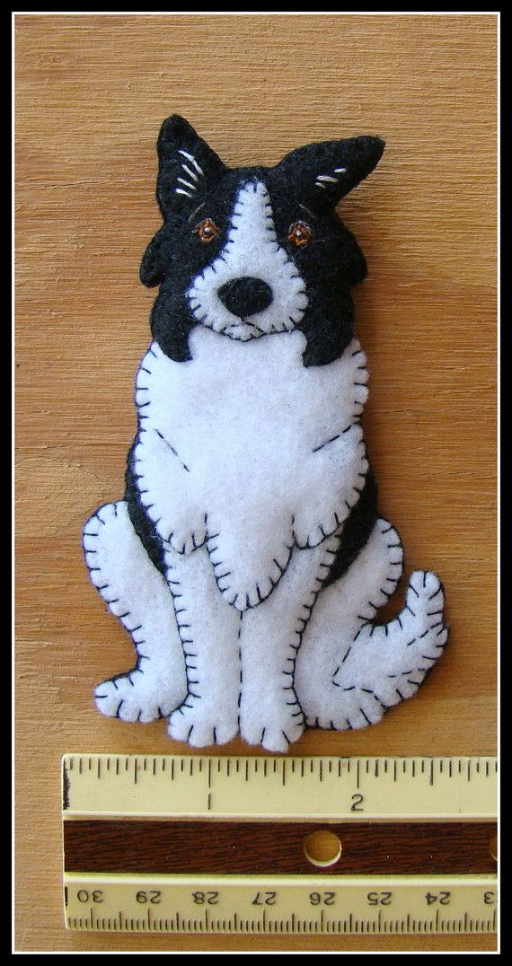 Border Collie Puppy-handmade felt Christmas by justsue on Etsy