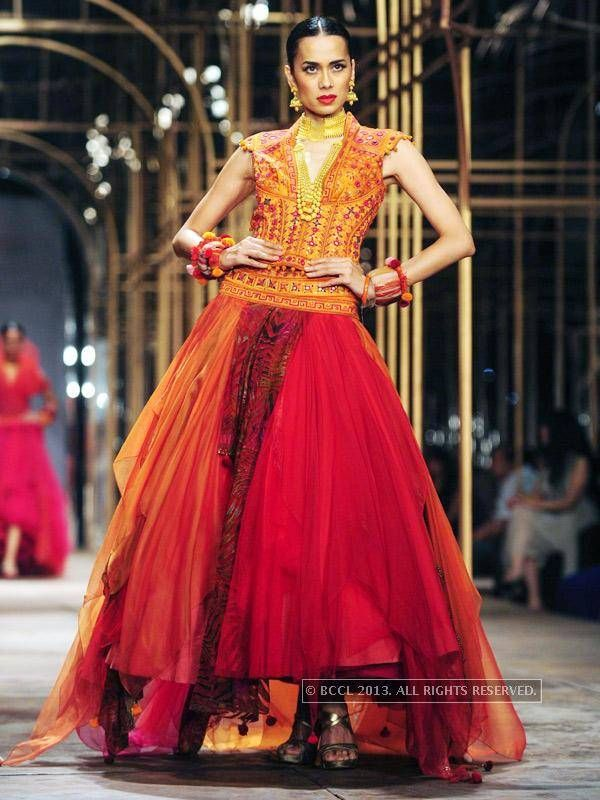 Model Hemangi walks the ramp for designer Tarun Tahiliani during India Bridal Fashion Week '13, held at Grand Hyatt, in Mumbai, on November 29, 2013.