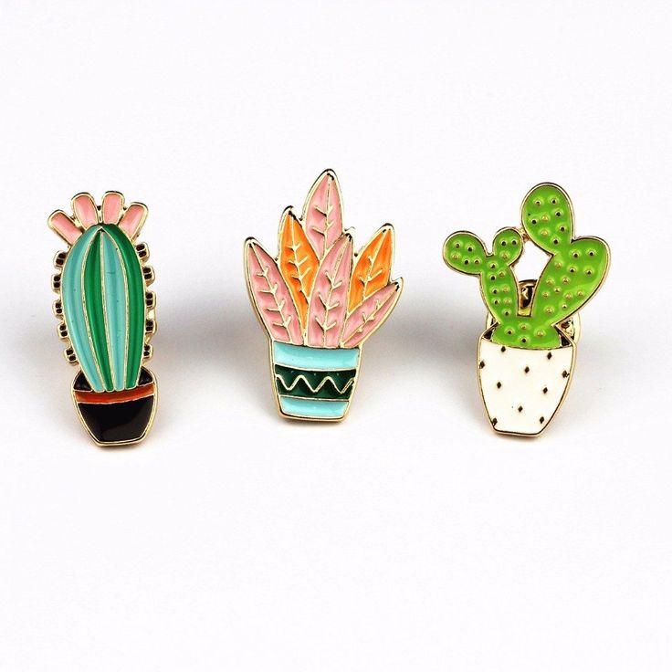 Enamel Cactus Pins Fashion Flare