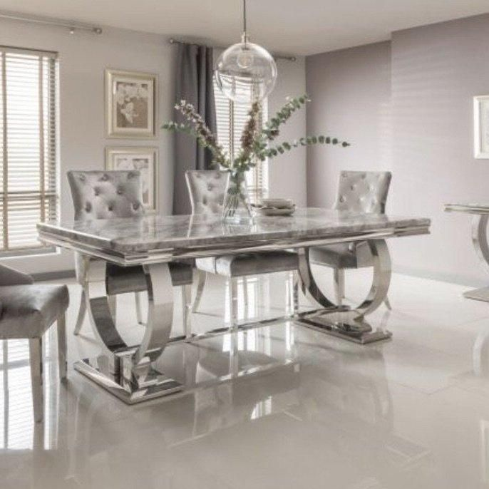 Product Information This Bundle Includes Arianna Grey Marble Dining Table 200cm6 X Cheshire Royal V Marble Top Dining Table Dining Table Marble Marble Dining