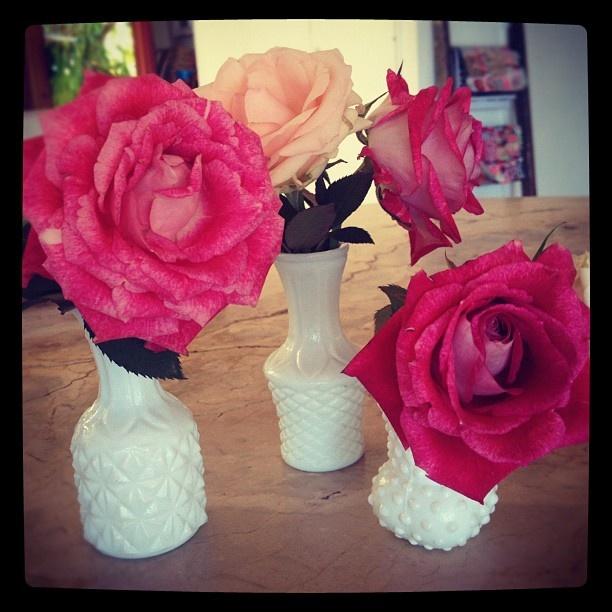 "@seaandme_beach's photo: ""op shop find- set of 3 mini #vintage vases for our saturday #market #blooms x"""