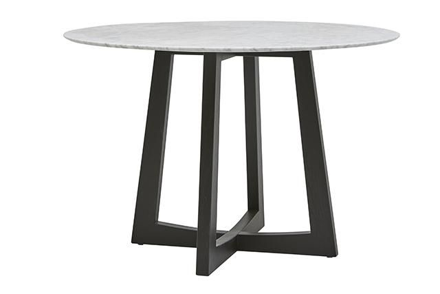 GlobeWest - Sloan Cross Round Marble Dining Table