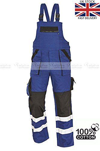 Cheap Hi Vis Work Bib and Brace Overalls Men39s Trousers 100% Cotton Blue MAX REFLEX deals week