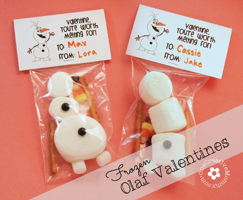 Valentine--You're Worth Melting For / Frozen Olaf {OneCreativeMommy.com} #valentine