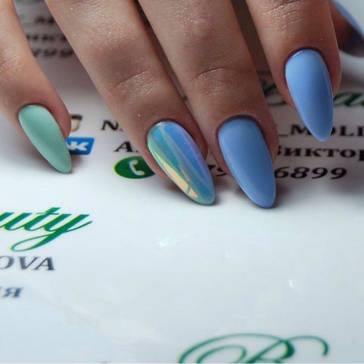 Almond-shaped nails, Classic nails ideas, Everyday nails, Ideas of blue nails, Jeans nails, Long nails, Nail polish for blue dress, Nails with stickers