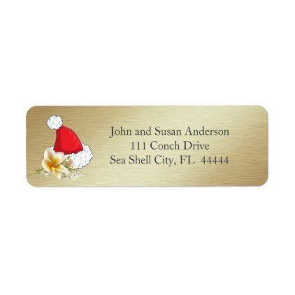 #Golden Beach Tropical  Merry Christmas Address Label - #Xmas #ChristmasEve Christmas Eve #Christmas #merry #xmas #family #kids #gifts #holidays #Santa