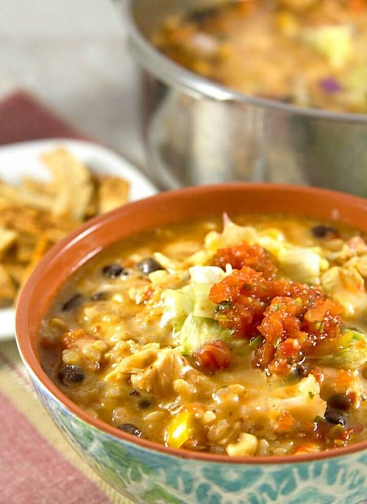 Chipotle Chicken Enchiladas Soup Recipe - A fun twist on traditional enchiladas, with a bonus recipe for homemade tortilla strips. From @itsyummi