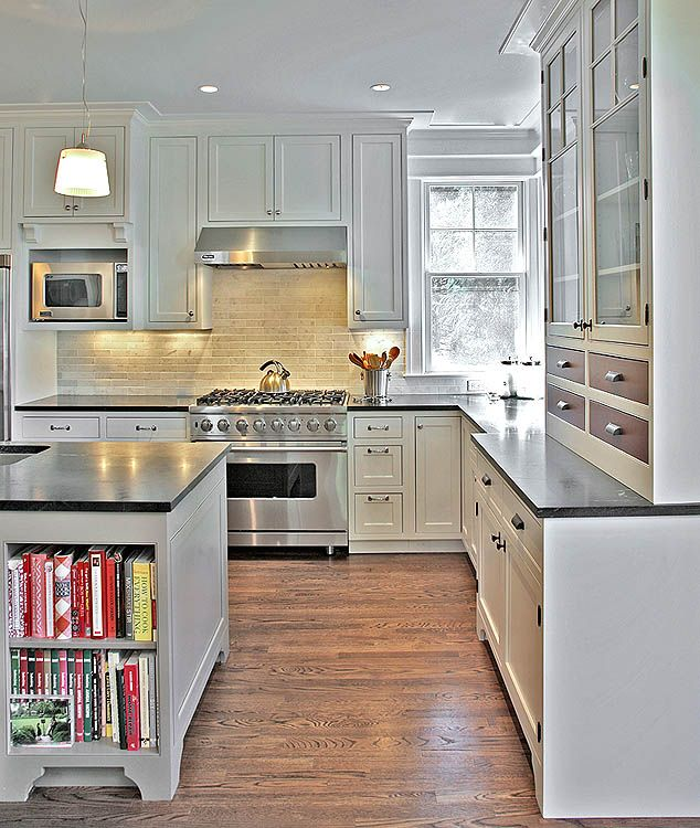 Dark Kitchen Cabinets Light Floors: These Dark #counter-tops Create Contrast Between White