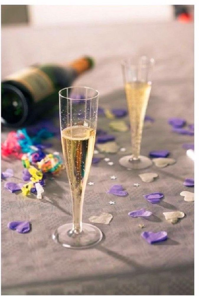 Champagne Plastic Glasses Disposable Bbq Party Birthday Paties Drink Alcohol x24