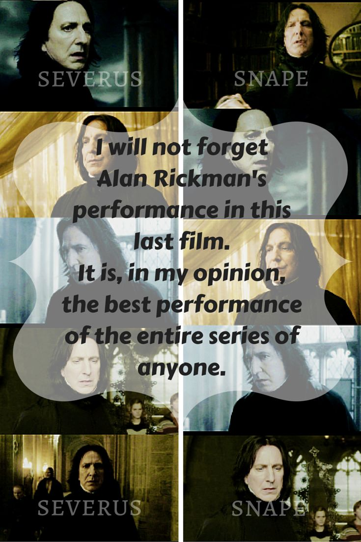 Matthew Lewis who plays Neville Longbottom in the Harry Potter series thinks Alan's performance as Severus Snape in Deathly Hallows is the best performance of anyone in the entire series! You are so right, Matthew. :)