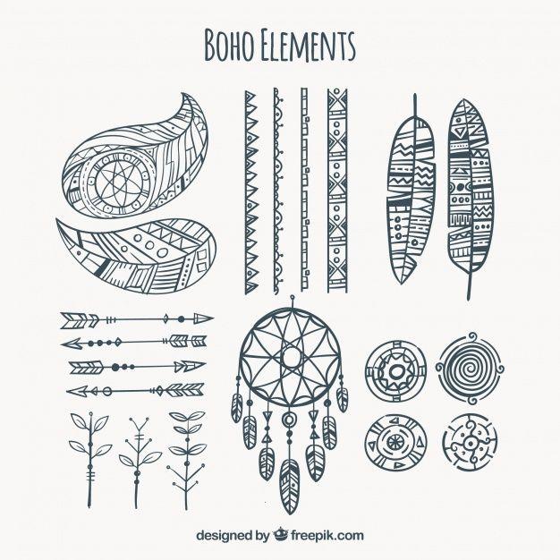Коллекция рисованной элементов BOHO Бесплатные векторы