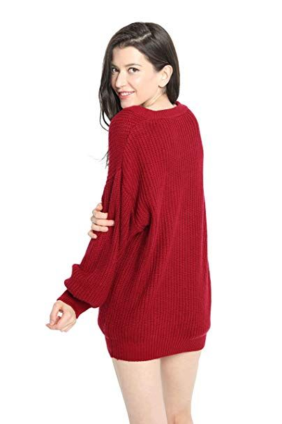 Liny Xin Women s Cashmere Oversized Loose Knitted Crew Neck Long Sleeve  Winter Warm Wool Pullover Long Sweater Dresses Tops (Ginger) at Amazon  Women s ... 468f9c2c4