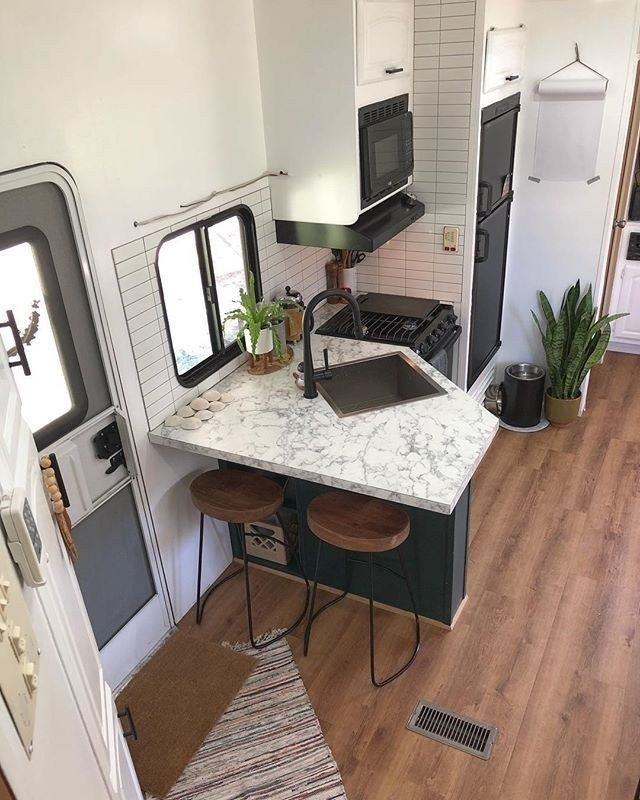 Relaxing Tiny House Makeovers Design Ideas With Farmhouse Style 31 Remodeled Campers Kitchen Remodel Elegant Kitchens