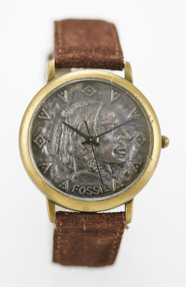 Fossil Watch Mens Indian Head Leather Brown Stainless Steel Gold 30m Quartz