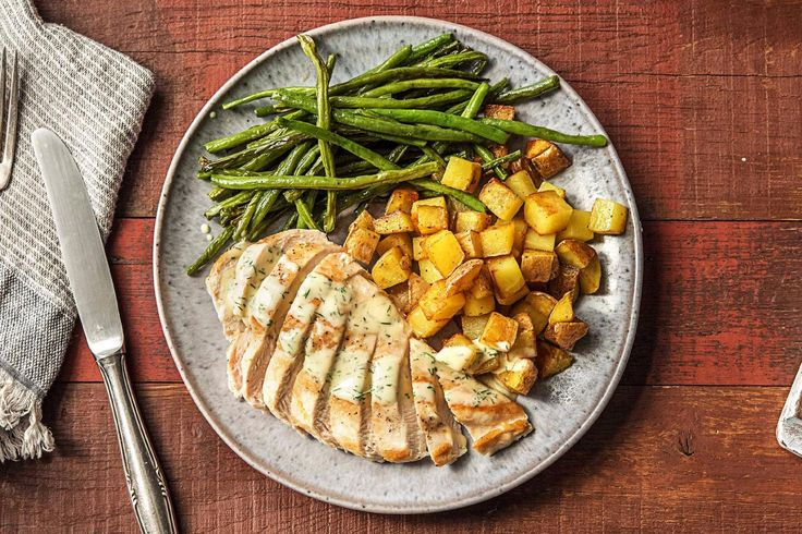 Creamy Dill Chicken with Roasted Potatoes and Green Beans