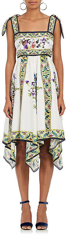 Dolce & Gabbana Women's Floral-Tile-Print Silk Dress