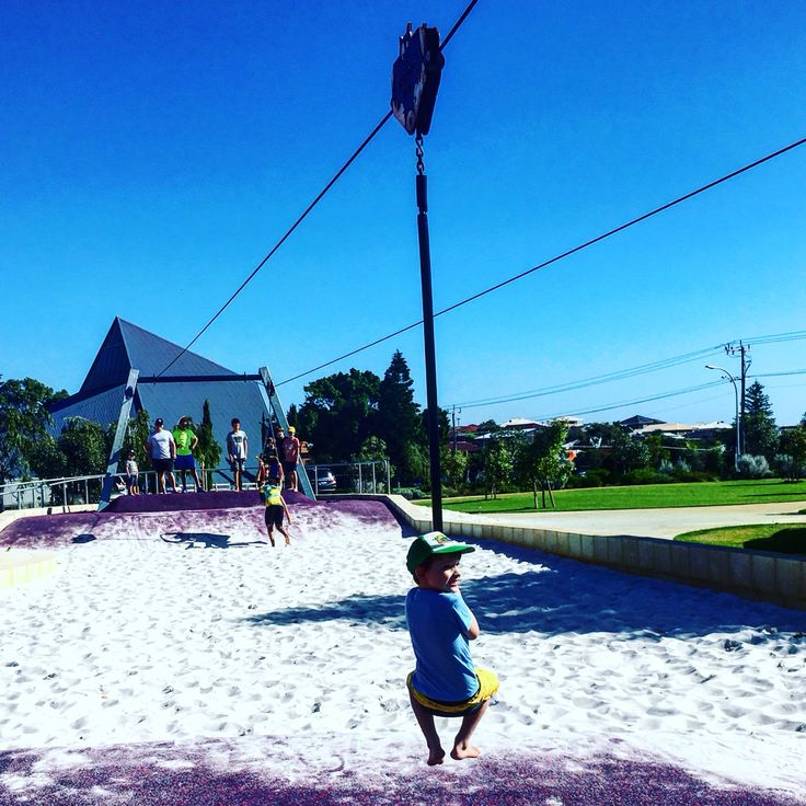 Charles Riley Reserve, North Beach. The highlights for us were the flying foxes and the awesome sand play conveyor belt. Plenty more play equipment and lots of grass for a picnic and to kick a footy.