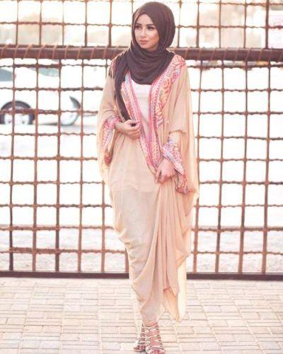 blush pastel cardigan abaya style- Eid hijab ready to wear http://www.justtrendygirls.com/eid-hijab-ready-to-wear/