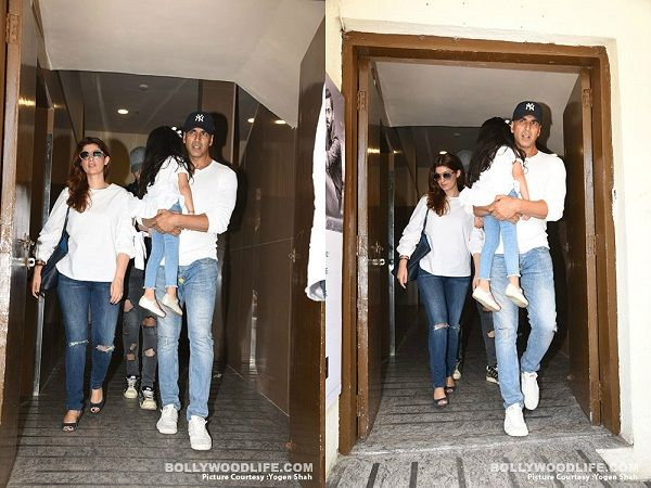 Akshay Kumar, Twinkle Khanna, Nitara colour coordinate as they head out for a movie – view pics #FansnStars