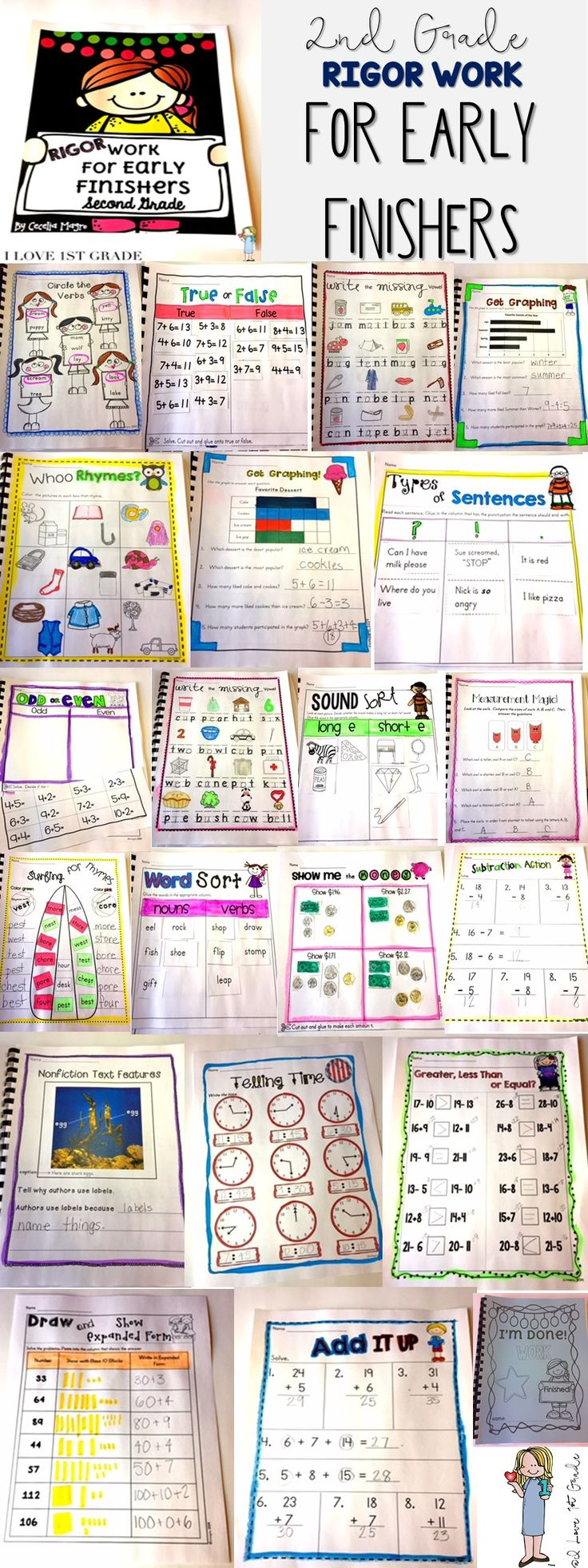71 pages of original second grade Math and English Language Arts activities perfectly aligned to Common Core standards! Each page was carefully crafted with the second grader in mind. Modalities vary so students stay highly engaged. With this, students will have rigorous work to do once they have completed assignments!