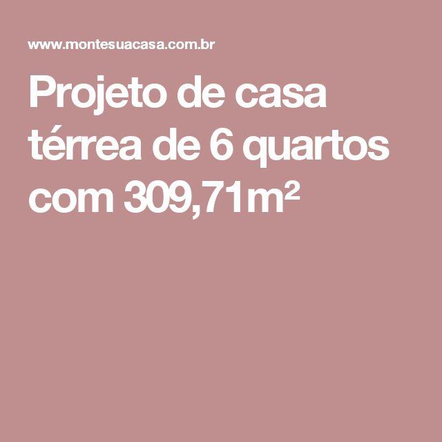 http://www.montesuacasa.com.br/projetos/casas/casa_6_quartos_309.71_plantah.php   Projeto de casa térrea de 6 quartos com 309,71m²  Área do projeto: 309,71m²  Espaço ocupado pelo projeto: Largura: 27.90m Comprimento: 22.95m  Terreno do projeto original: 30.00x30.00m  Terreno mínimo (sem alterar o projeto)  Largura: 30.00m (*) Comprimento: 30.00m (**) *considerando recuo lateral direita de 0.00m *considerando recuo lateral esquerda de 2.10m **considerando recuo frontal de 4.00m **considerando…
