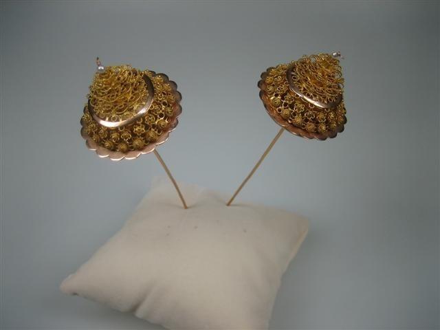 Antieke gouden torenspelden ca. eind 1800 te oa. Arnemuiden NR.GT201245 | Antieke Zeeuwse sieraden | Antieke sieraden - Oude juwelen - Nieuwe sieraden-