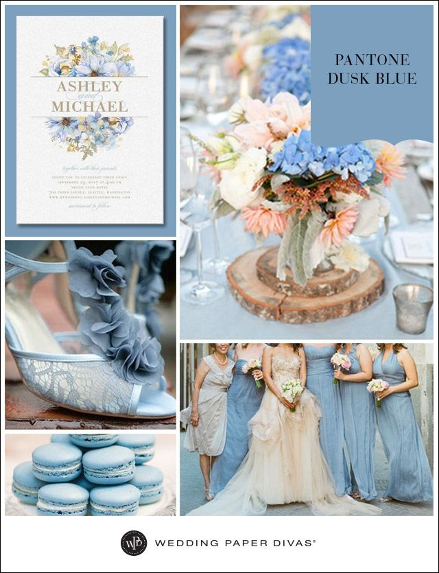 Dusk blue weddings are peaceful and serene. See our Pantone 2015 Spring color of Dusk Blue for a romantic and/or vintage wedding.