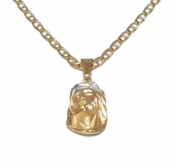 "1-2239-1853-f7 18kt Brazilian Gold Layered Two Tone Jesus Face with 24"" Marine Link Chain."