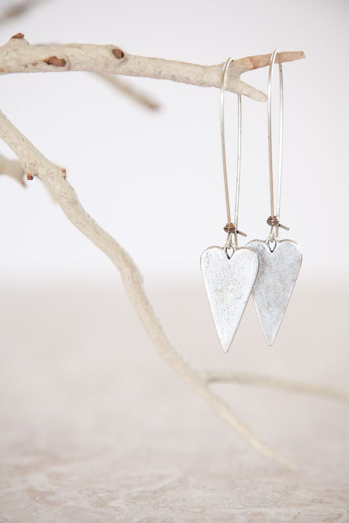 Silver Plated Long Heart Earrings. Made in the USA jewelry. These lovely silver earrings are handmade by the Ornata™ brand.