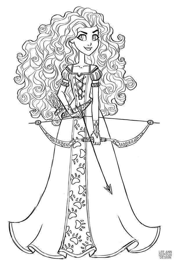 Раскраска Дисней Принцесса Мерида