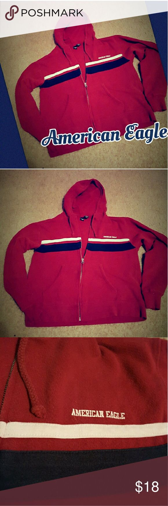American Eagle Jacket Hoodie xs-med Red Blue American Eagle Jacket Hoodie. Tag says xs, but fits more like small-medium. Worn a few times, but still in good condition. Smoke free home. I will gladly bundle items to give you a discount! American Eagle Outfitters Tops Sweatshirts & Hoodies