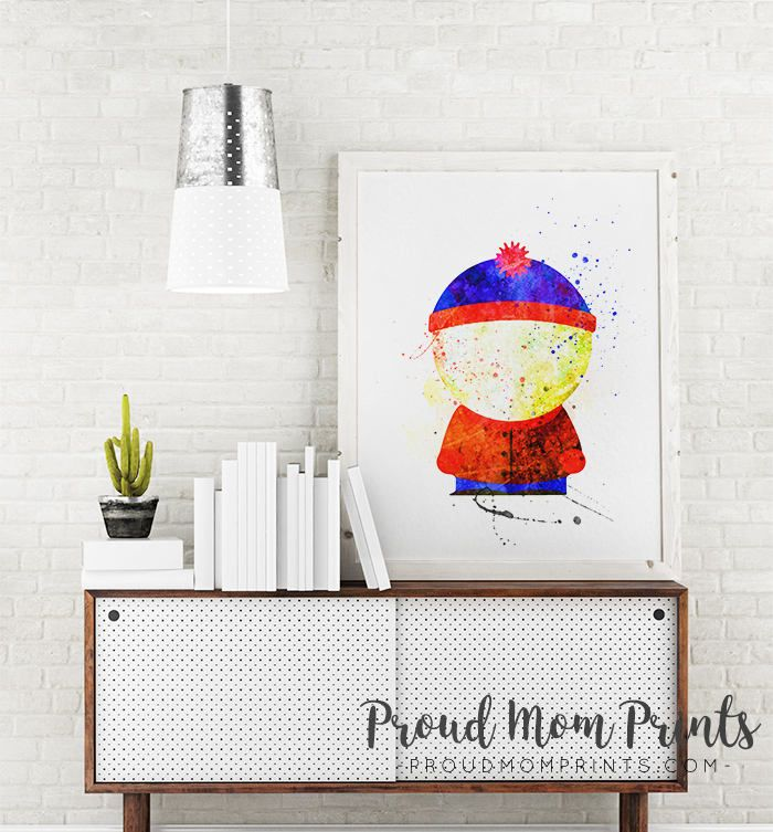 South Park Character South Park Art Print Mtv Cartoon Wall Art Watercolor Wall Decor South Park Characters Park Art Cartoon Wall