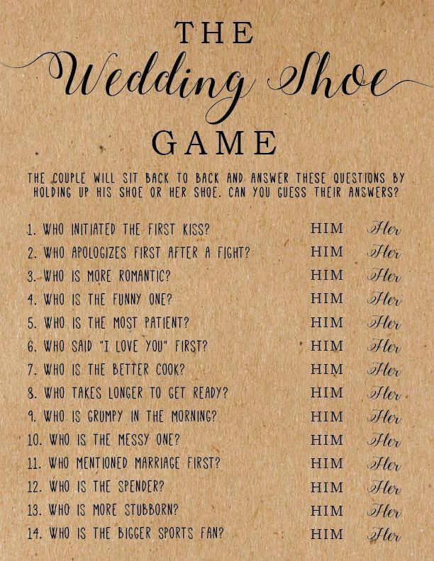 The Wedding Shoe Game Bridal Shower Games Wedding Shower Games Bridal Shower Print Bridal Shower Printable Games Printable Games In 2020 Shoe Game Wedding Couples Bridal Shower Bridal Shower Games Funny