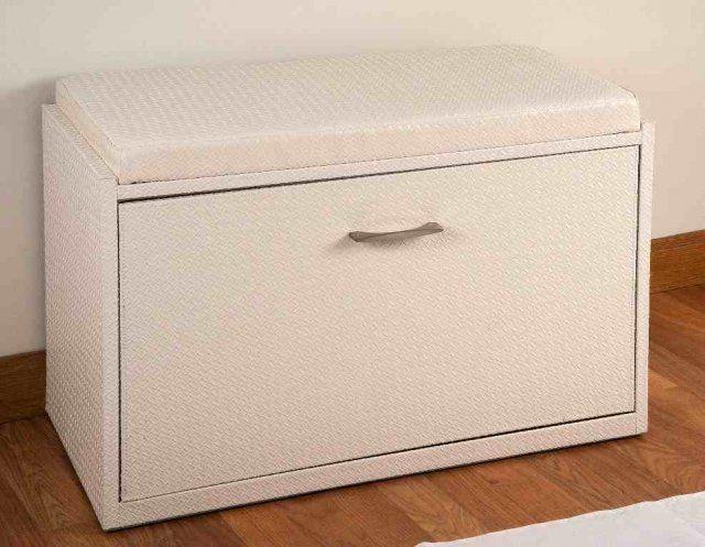 mueble zapatero con asiento beig polipiel trenzado medidas