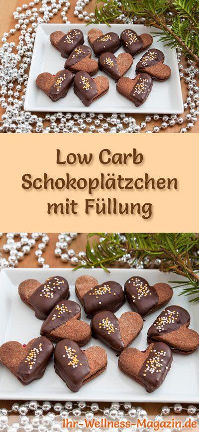 Low-Carb-Weihnachtsgebäck-Rezept für Schokoplätzchen mit Füllung: Kohlenhydratarme, kalorienreduzierte Weihnachtskekse - ohne Getreidemehl und Zucker gebacken ... #lowcarb #backen #weihnachten