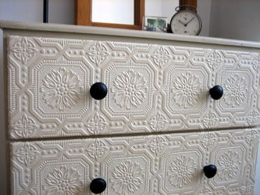 Beauty and the Green: Drab To Fab - Old Dresser Makeover // using embossed wallpaper