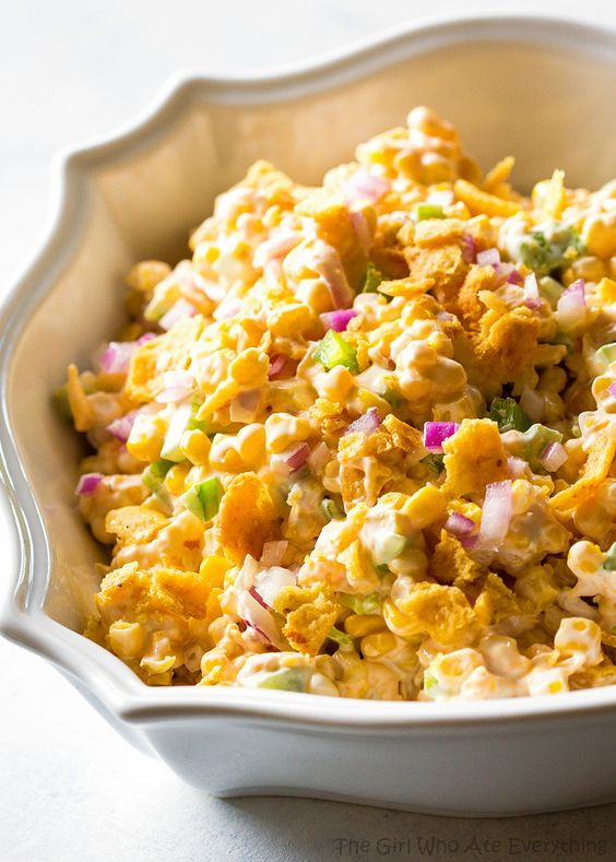 """Fritos Corn """"Salad"""" (I actually use spicy Doritos instead of Fritos in this recipe and serve more with it!)"""