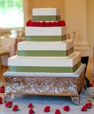 Four-tier, square-shaped wedding cake with sage green ribbon + petite red roses {Cakes for Occasions - Boston Cakes}