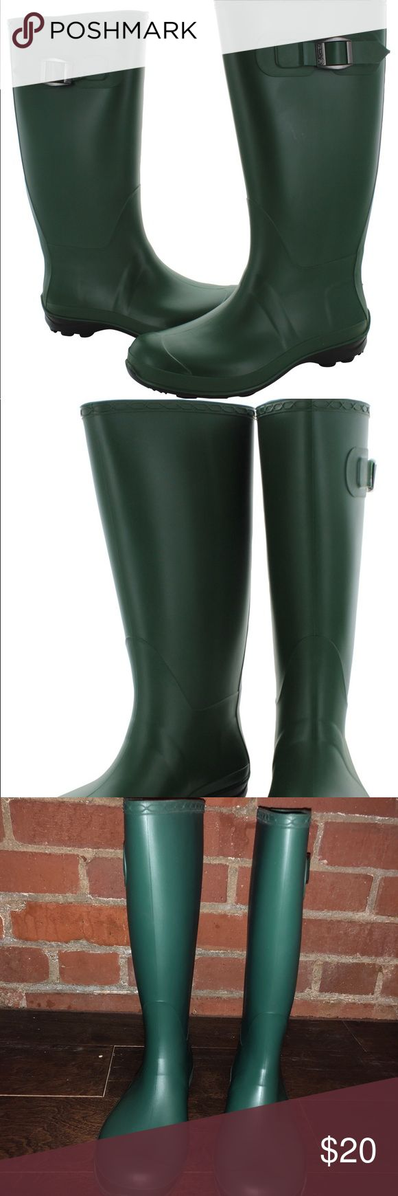 Kamik Green Olivia Rain boots! Size 7! These beautiful/ comfortable Kamik Olivia rain boots are in like new condition, barely worn once! They're the perfect combination of stylish and practical for rainy weather! Size 7. Waterproof synthetic rubber upper. Decorative side buckle. Breathable textile lining. Kamik Shoes Winter & Rain Boots