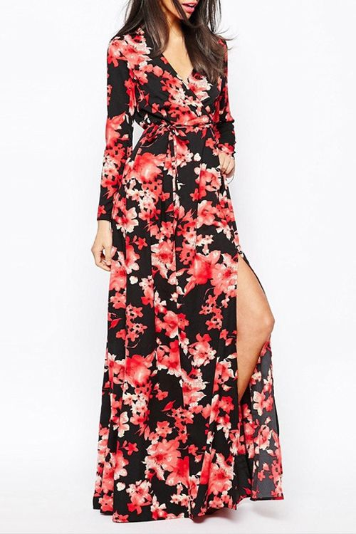 »Floral Print Tie-Up High Slit #Dress« #floral #fashion #fashionandaccessories