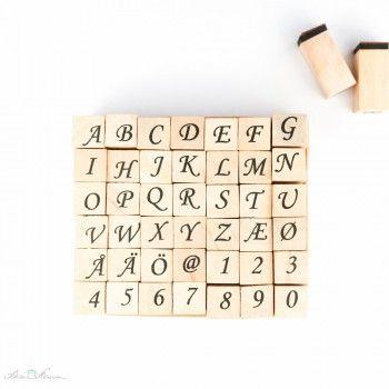 Stempel-Set, 42 Buchstaben und Zahlen, kursiv