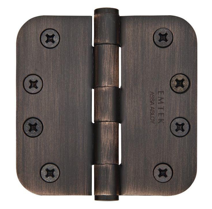 Emtek 4 Inch Steel Heavy Duty Door Hinges with 5/8 Inch Round Corners  (pair)