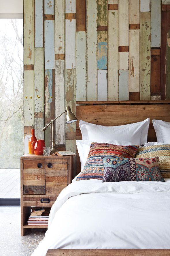 cozy rustic bedrooms designs-- this one is just about the right amount of rustic for me (I like the wood!)