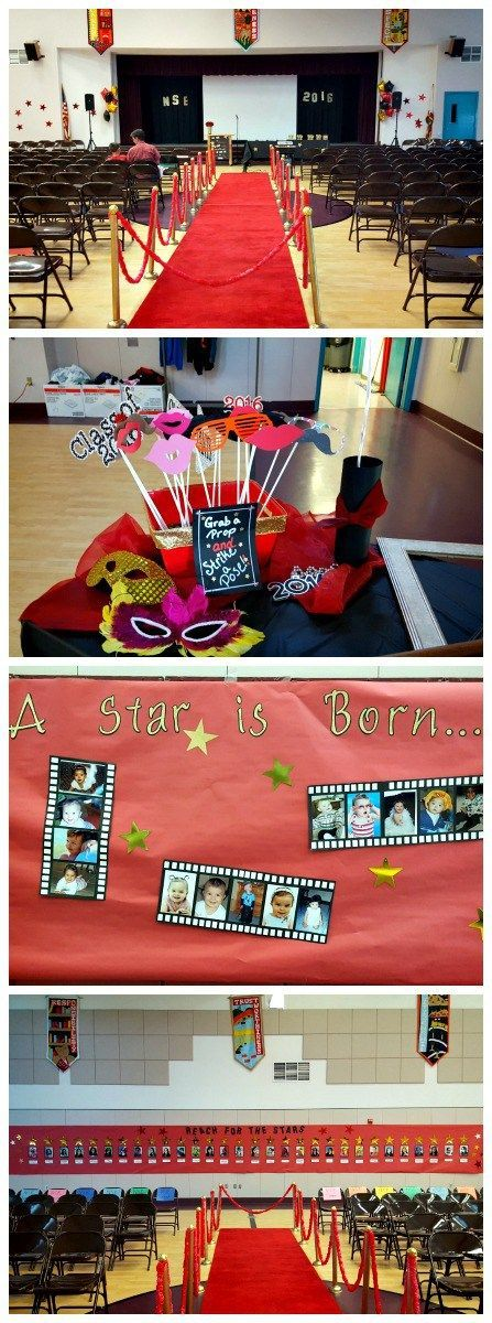 Red carpet themed 6th grade graduation ceremony.  Lots of ideas for decorations!  Graduation ideas.  DIY Red Carpet Hollywood theme.