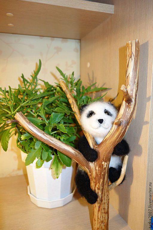 """Купить Валяная игрушка """" Панда"""" - чёрно-белый, панда, мишка, игрушка ручной работы"""