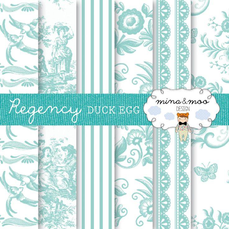 Regency digital papers - Duck Egg Blue MinaandMooDesign 2.90 GBP