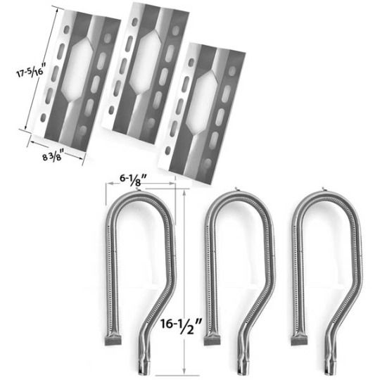 3 PACK REPLACEMENT REPAIR KIT FOR CHARMGLOW 720-0396, 720-0578 GAS GRILL MODELS - 3 STAINLESS STEEL BURNERS & 3 STAINLESS HEAT PLATES