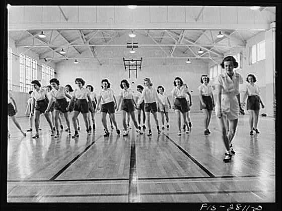 Tap dancing class in the gymnasium at Iowa State College. Ames, Iowa. Delano, Jack, photographer. Created/Published: 1942 May.
