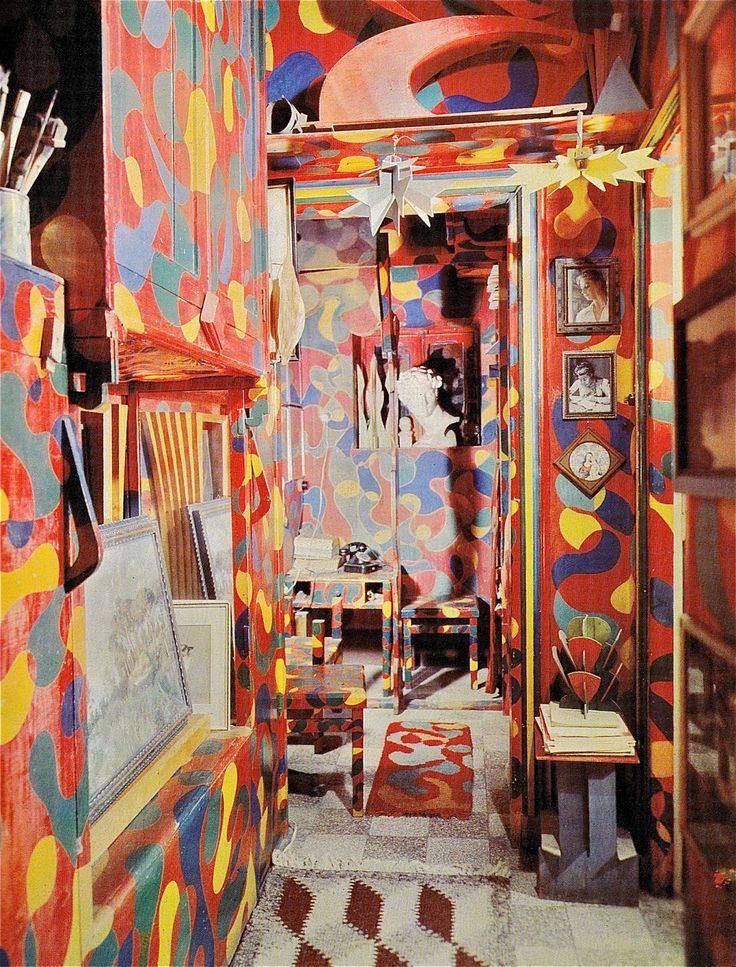 Giacomo Balla - navrhoval také interiéry - Balla interier, udělal svůj pokoj